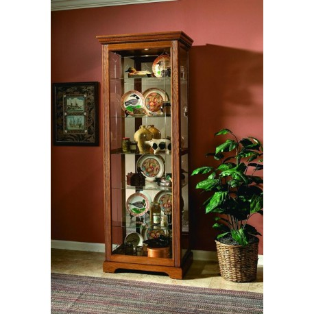Golden Oak III Two-way Sliding Door Curio