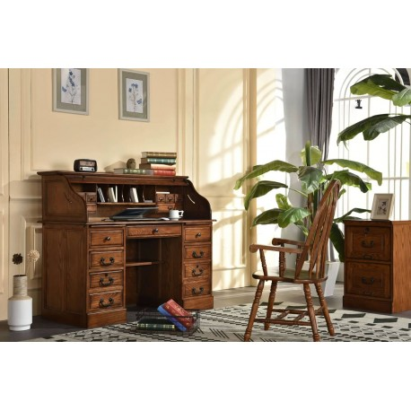 """Harvest Oak 54"""" Roll Top Desk"""