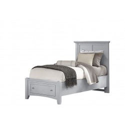 Bonanza Twin Mansion Bed w/ Storage Footboard in Gray