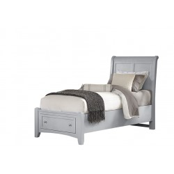 Bonanza Twin Sleigh Bed w/ Storage Footboard in Grey