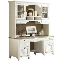 Myra Credenza Desk and Hutch - Paper White Finish